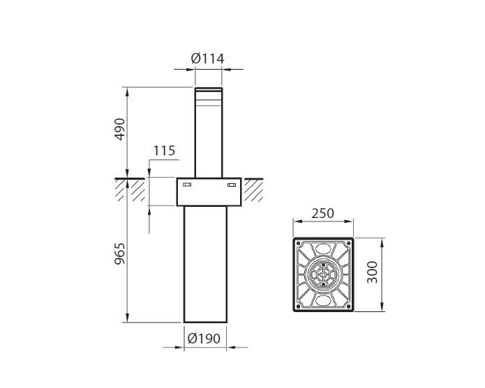 BFT STOPPY B 230V 115/500 Automātiskais elektromehāniskais BOLLARDS/ Bloķētājs