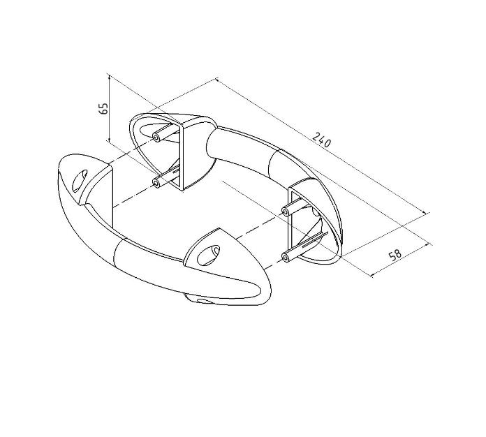 PVC Divpusējs garāžas vārtu rokturis 643B (melns)
