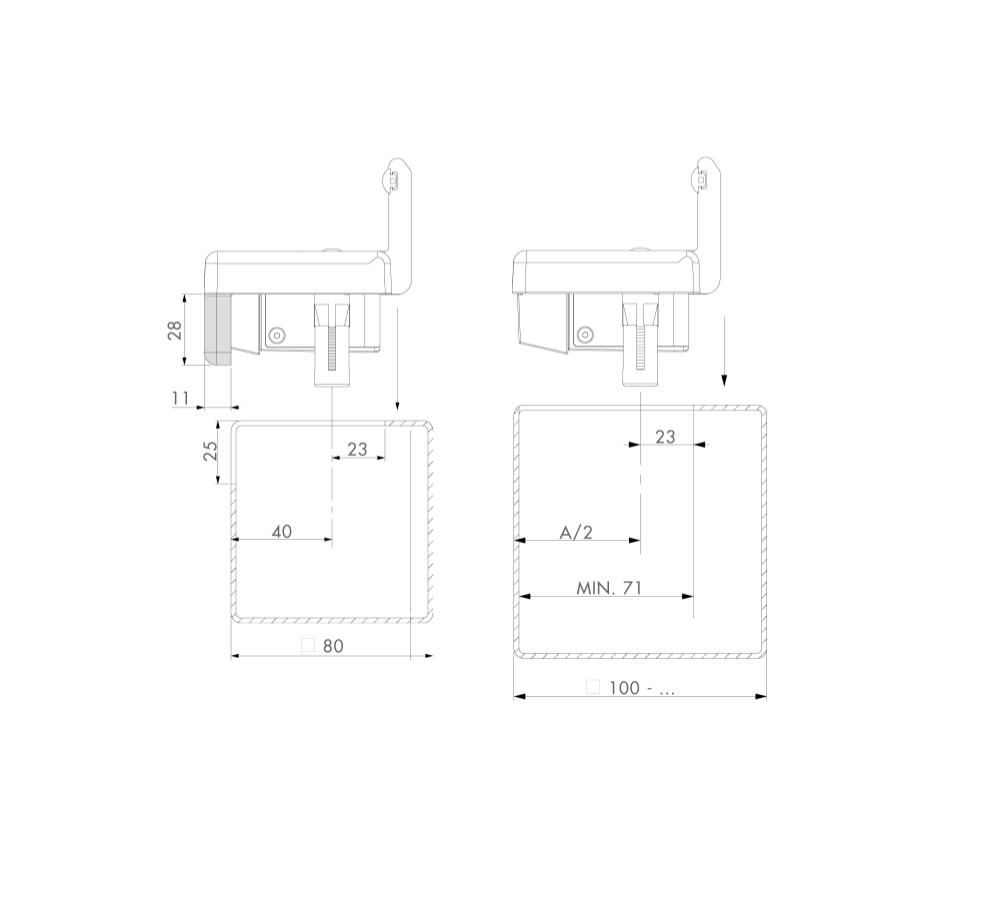 Gājēju veramo vārtu elektriskā aizbīdne/ elektrosprūds LOCINOX EMISSA SEH-E RAL 9005 (melna)