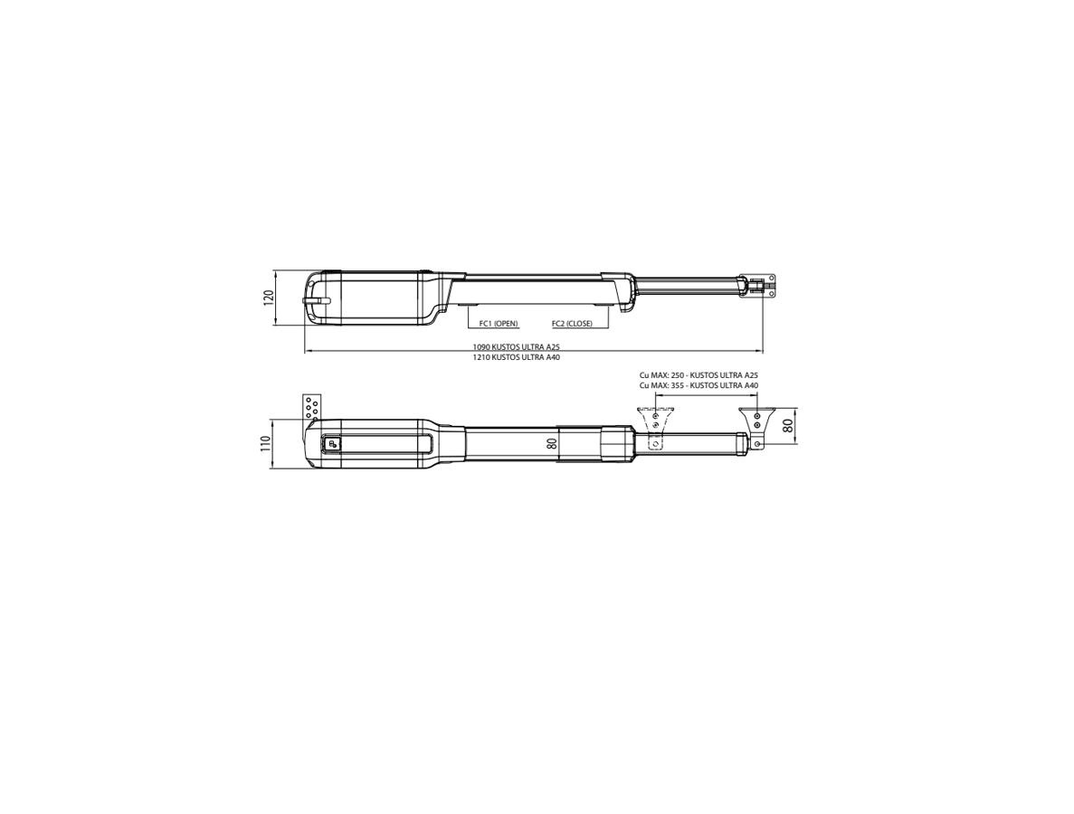 BFT KUSTOS BT A25 24V MINI KIT (Līdz 5m) Divviru veramo vārtu automātika